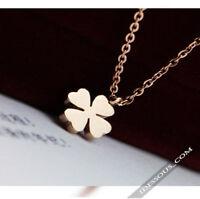 18k Gold Edel Damen Halskette + Anhänger vergoldet Kleeblatt Geschenk Glück 38€