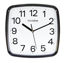 Wm.Widdop Square Black White Quartz Wall Clock Non Ticking Sweeping seconds