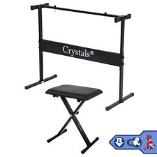 More details for full size music piano stand keyboard stand & chair height adjustable rect frame
