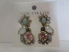 Ann Tayor Pearlized teal Stone Crystal Cluster Drop Earrings NWT $49.50