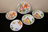 Lot of 5 Lynn Chase Jungle Flower dinner & bread plates & bowls Tiger France
