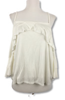 Vanity Room Womens Blouse Ruffle Cold Shoulder 3/4 Sleeve Top Ivory Size M
