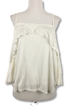 Vanity Room Womens Top Cold Shoulder 3/4 Sleeve Ruffle Trim Blouse Ivory Size M