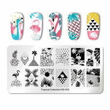 Nail Art Stamping Plate Image Decoration Summer Holiday Flamingo Palm Tree ND03