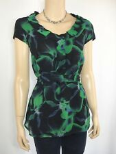 TARGET Black & Green Chiffon Floral Top Size 12 Ruffle