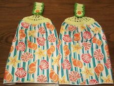 2 Double Sided Crocheted Top Colorful Seashells Starfish Dish Hanging Towels