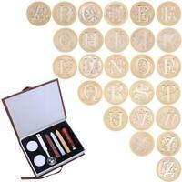 Retro Vintage Initial Alphabet Wax Seal Stamp Kit Sealing Wax Letters Invitat