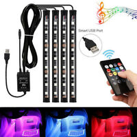 4x 9LED RGB Car Interior Atmosphere Footwell Strip Light USB Charger Decor La XN