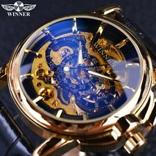 Navigator Series Men Watches Skeleton Mechanical Watch Gold Case Mens Wristwatch