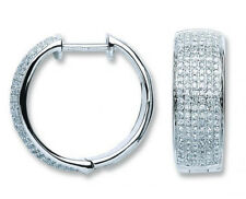 18CT HALLMARKED WHITE GOLD 0.55CT SI DIAMOND PAVE SET 22MM ROUND HOOP EARRINGS