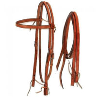 Royal King Medium Oil Frontier Browband Headstall w/ Reins Horse Tack Equine