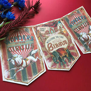 Vintage Style Circus Bunting Retro Banner Home Decor Kids