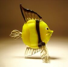 "Blown Glass Figurine ""Murano"" Art Yellow and Black CLOWN FISH"