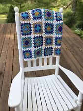 "Granny Square Afghan Colorful Quality Vintage 69""x47"". Purple Aqua Gold White Bl"