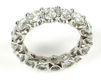 5 ctw Natural Diamond Solid 14k White Gold Full Eternity Wedding Band Ring 4 mm