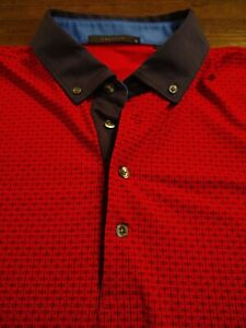 GREYSON Men's Polo Style Polyester/Spandex Large RED GEOMETRIC S/S Shirt
