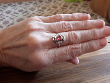 BRAND NEW 18K WHITE GOLD FILLED RING WITH  RUBY LOOK STONE IN SIZE N +1/2