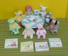 Bitty Bunch LOT Bear Piggy Lambie Froggy + Tea Party Set American Girl Baby Doll