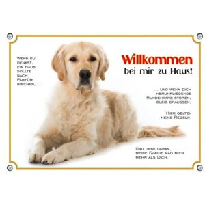 einzigartiges Hundeschild Golden Retriever -  Willkommens Warnschild aus Metall