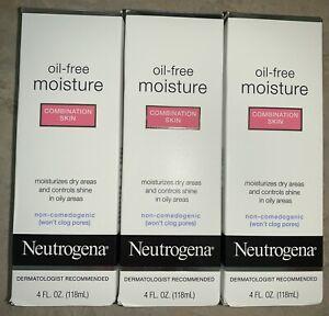 Lot of 3 Neutrogena Oil-free Moisture Combination Skin 4oz Bottles - NEW