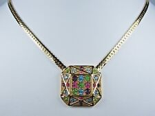 """Swarovski Crystals 16"""" Length - 1186 D'Orlan Gold Plated Necklace with Pastel"""