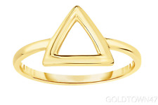 14kt Yellow Gold Shiny Square Tube Open 3 Point Triangle Top Fancy Ring