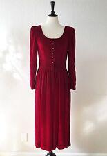 LIZ CLAIBORNE Vntg Red Velvet Dress Rhinestones Medvl Renaissance Valentine M