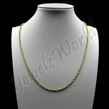 "10K Solid Yellow Gold Necklace Gold Rope Chain 1MM 16"" 18"" 20"" 22"" 24"" 26"" 30"""