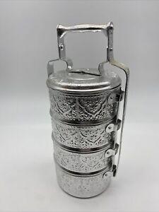 Thai 5-Tier Ornate Tiffin Aluminum Lunch Box Diamond Brand 22 cm Pinto Bento EUC