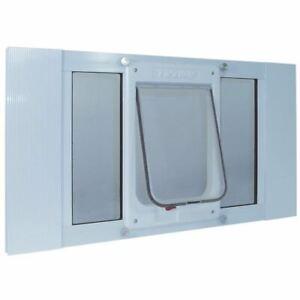 "Ideal Pet Products Aluminum Sash ChubbyKat Flap Pet Door Medium White 1.25"" x 23"
