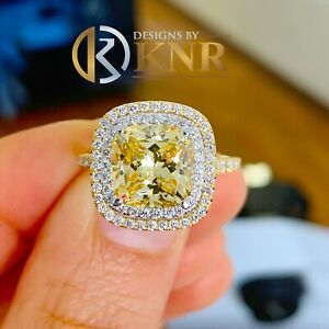 14k Yellow Gold Cushion Fancy Yellow And Natural Diamonds Engagement Ring 6.00
