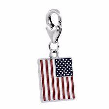 Red White Blue Enamel American Flag USA Lobster Clip Dangle Charm for Bracelets