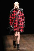 Coach Women Wool Houndstooth Parka Leather Hood Black Red Coat $1,495 NWT New