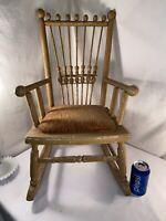 Vtg ANTIQUE Victorian Mustard Yellow Velvet Cushion Spindle Child Rocking Chair