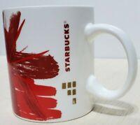 Starbucks Ceramic 12oz Coffee Mug 2014 Floral Burst Design Red & Gold