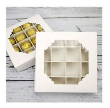 5 x White Empty pick and mix sweet chocolate boxes With 16 compartment,