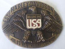 New Vtg. Harley Davidson Belt Buckle Raintree - World's Heavyweight Champion