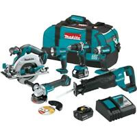 Makita 18v Cordless Combo Tool Kit 6 Tools Drill Impact Saw Sawzall Grind Light