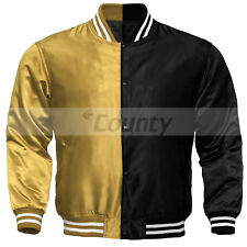 Letterman Baseball College Varsity Bomber Jacket Sports Golden Black Satin