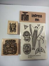 Tribal Native Aboriginal Masks Petroglyph Angels Lot Rubber Stamps