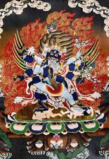 13 Inch Tibet Thangka Vajra - Wrathful Vajrakilaya Brocade Wood Scroll Printed