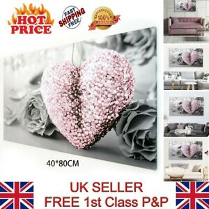 PINK HEART AND GREY FLOWER ART CANVAS PRINT WALL PICTURE 18 X 32 INCH UK STOCK!