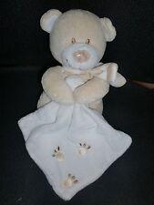 doudou peluche ours beige et blanc mouchoir empreinte patte POMMETTE 21cm