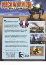 Mech Warrior 4 Vengeance Video Arcade Game Flyer 2002