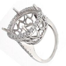 Oval Halo Diamond Semi Mount Ring Setting 0.87 Carats-14K - 14x12 mm or 16x14mm