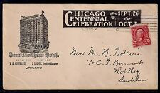 1903 Chicago Centennial Celebration on Hotel Cover - To Rob Roy, Indiana (Dpo)