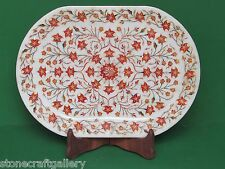 Marble Tray Pietra Dura Work White Stone Art & Craft Home Decor for Gifts