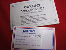 VINTAGE CASIO MODULE NO. 192 USER'S GUIDE/WARRANTY CERTIFICATE