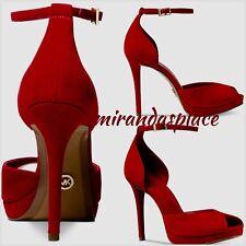 NIB Michael Kors 40R8TGHS1S Size 9M Tiegan Suede Red Ankle Strap Dress Sandals