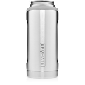 Brumate Hopsulator Slim Can Cooler Tumbler 12 oz Drink Holder Stainless Silver